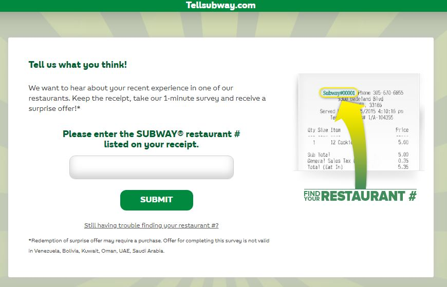 Tell Subway Feedback In 1 Minute Survey