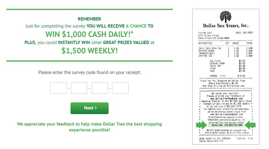 Dollar Tree Customer Satisfaction Survey