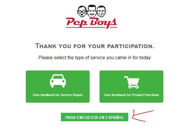 Pep Boys Feedback Survey