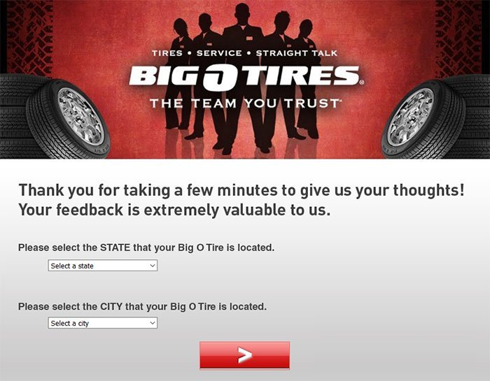 Big O Tires Guest Satisfaction Survey