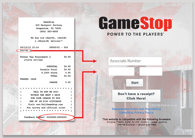 Tell GameStop Feedback