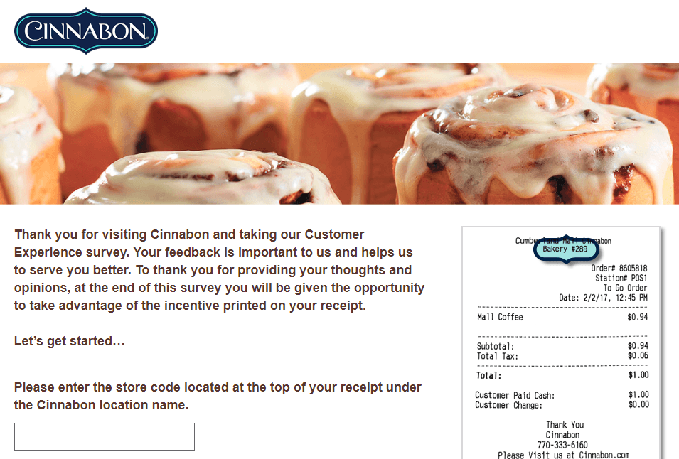 Cinnabon Customer Satisfaction Survey