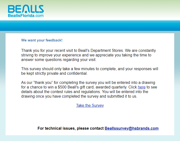 Participate in Bealls Survey